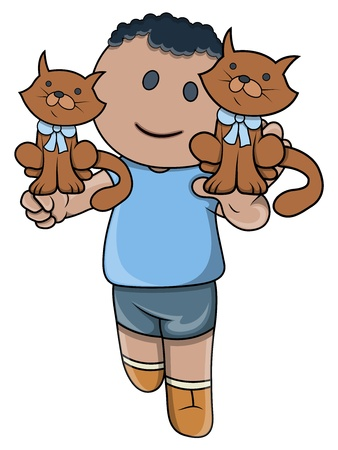 Little Kid Playing with Kittens - Vector Cartoon Illustration Stock Vector - 21098235