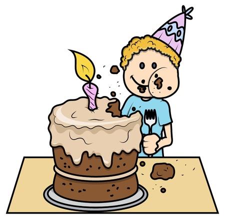 Cute Kid Eating His Birthday Cake - Vector Cartoon Illustration Stock Vector - 21098238