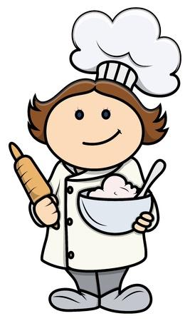 Lindo de la historieta de la niña en el traje del cocinero - Vector de dibujos animados Ilustración