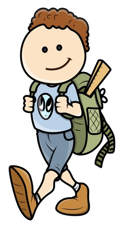 Kid Going to School - Vector Cartoon Illustration Stock Vector - 21098251