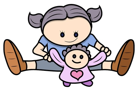 innocent girl: Little Girl Playing with Her Doll - Vector Cartoon Illustration