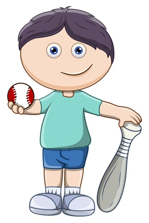 Kid with Baseball and Bat - Vector Cartoon Illustration Vector
