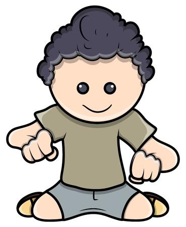 Cute Kid Staring Down - Vector Cartoon Illustration Stock Vector - 21098260