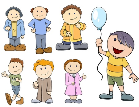 Various Kids Vector Illustration in Cartoon Style Vector