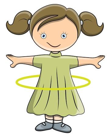 Girl Doing Hula Hoop - Vector Cartoon Illustration Stock Vector - 21098264