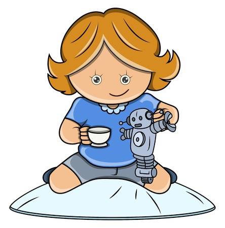 Little Girl Playing with Robot - Vector Cartoon Illustration Stock Vector - 21098266