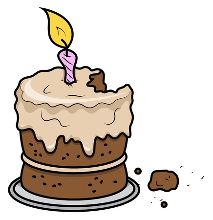 Cartoon Birthday Cake - Vector ilustraci�n de la historieta