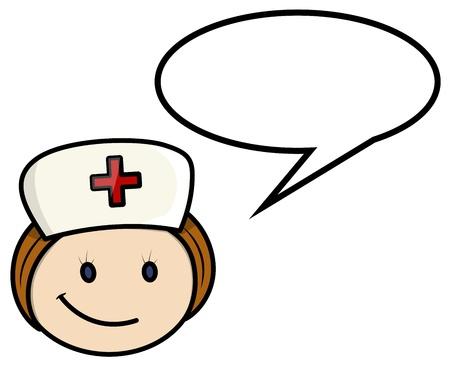 speech bubble hospital: Nurse Saying - Vector Cartoon Illustration