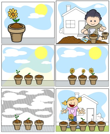 Kids Vector Illustration - Planting and Gardening in Cartoon Style