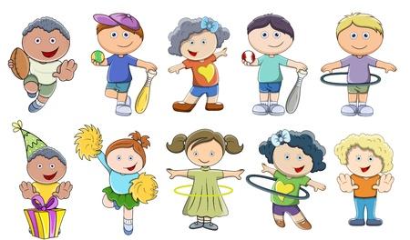 niños jugando caricatura: Children Playing - Vector Ilustraciones Vectores