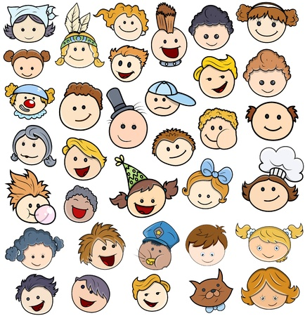Various Kids Happy Faces - Vector Illustrations