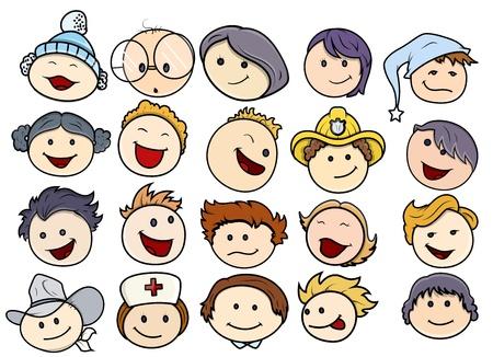 enfermera con cofia: Varias Caras felices y sonrientes ni�os Vectores