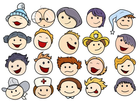 caricature woman: Various Happy and Smiling Kids Faces Illustration