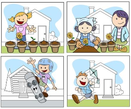 Children Vector Illustration in Cartoon Style Vector