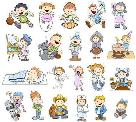 naughty child: Set Of Various Cartoon Kids Illustrations