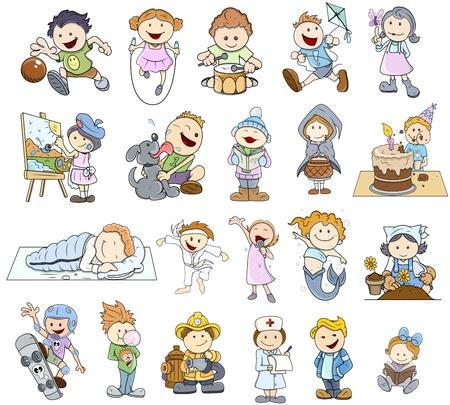 skateboard boy: Set Of Various Cartoon Kids Illustrations