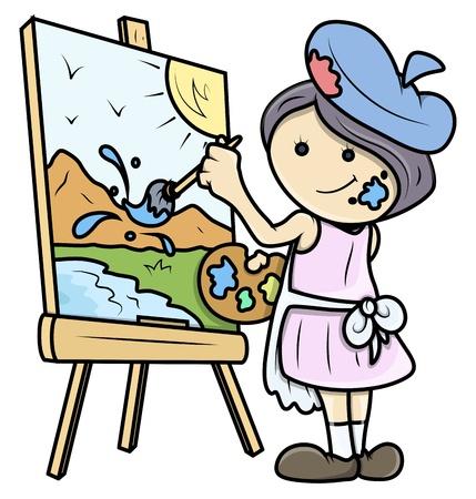 artist's canvas: Cartoon Girl Painting a Landscape on Canvas - Vector Illustrations