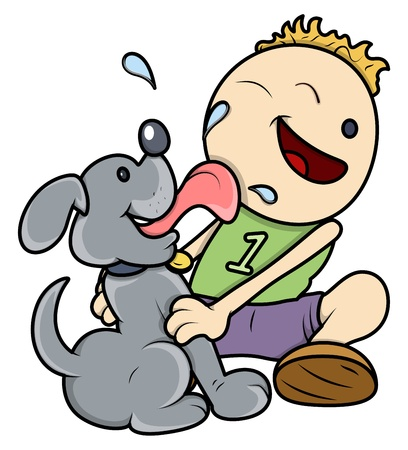 lick: Dog Licking Face of Kid - Vector Illustrations
