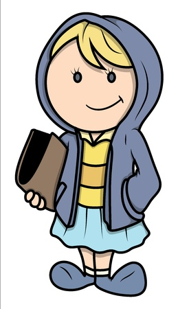 Teen Girl with Books - Vector Illustrations Stock Vector - 21098333