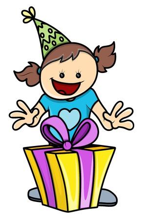 got: Birthday Girl Got a Present - Vector Illustrations