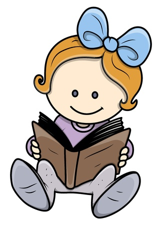 read magazine: Cute Little Girl Reading a Book - Vector Illustrations