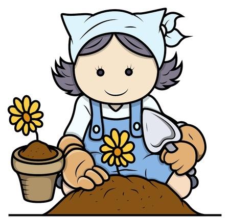 Cartoon Girl Gardening - Vector Illustrations Stock Vector - 21098362