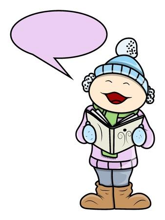 carols: Kid Singing Christmas Carols - Vector Cartoon Illustration