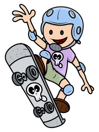 kid vector: Ni�o Feliz Skateboarding - Kid Cartoon Vector Illustration