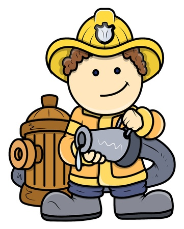 Little Fireman - Kid Vector Cartoon Illustration Vector