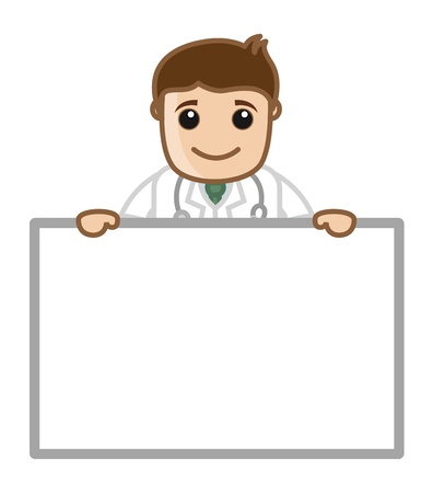 Doctor with Ad Banner - Office Cartoon Characters Vector