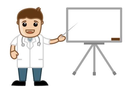 Doctor Presentation - Office Cartoon Characters Vector
