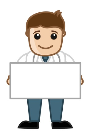 Doctor Holding Blank Banner - Office Cartoon Characters Vector