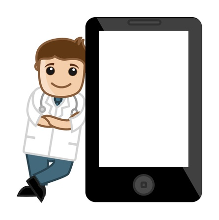 Doctor Standing with Tablet Device - Office Cartoon Characters Vector
