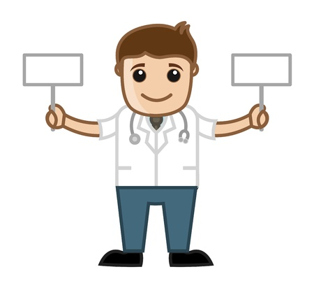 Doctor Holding Two Banners - Medical Vector