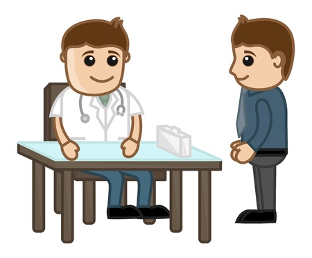 lifestyle disease: Doctor with Patient - Medical Cartoon Characters