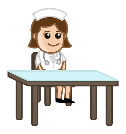 Nurse in Clinic - Medical Cartoon Characters Vector