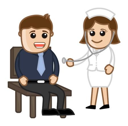Nurse Checking Patient - Medical Cartoon Characters Vector Illustration