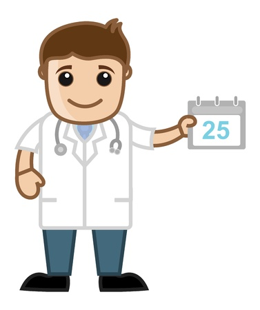 Schedule Doctor Calendar - Medical Cartoon Characters Vector