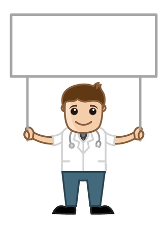 Doctor Holding Blank Board - Medical Cartoon Characters Vector