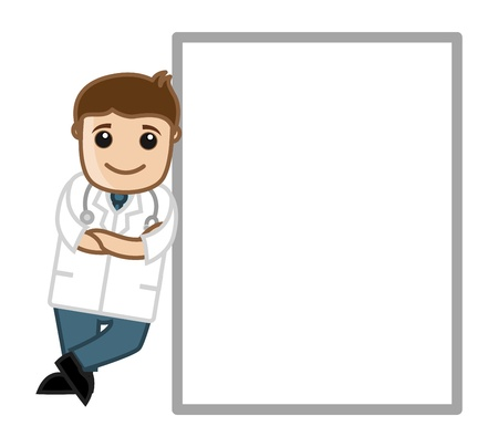 Doctor with Blank Board - Office Cartoon Characters Vector