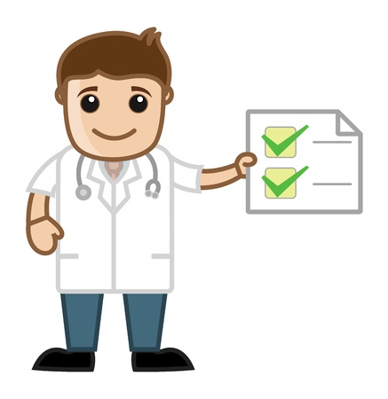health check: Doctor Checklist - Health Tips - Office Cartoon Characters Illustration