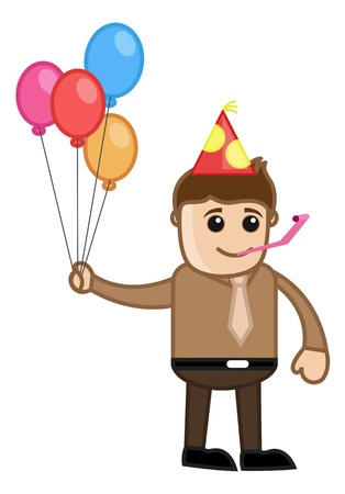 Party Celebration - Cartoon Business Character Vector