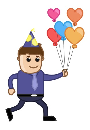 Man with Balloons in Party - Cartoon Business Character Vector