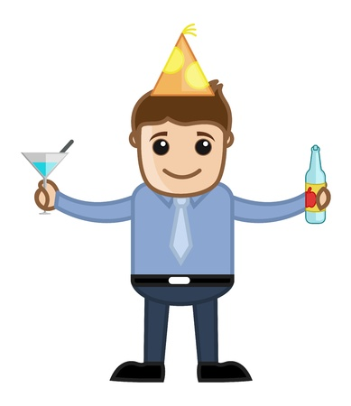 Man Drinking Wine in Party - Cartoon Business Character Vector