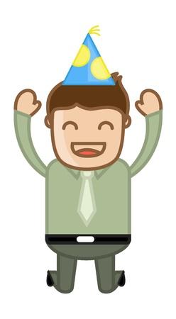 Joyful Man Jumping - Cartoon Business Character Vector