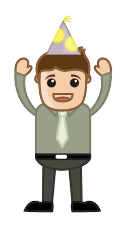 Happy Man on Party - Cartoon Business Character Vector