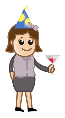 Business Party Girl Drinking - Cartoon Business Character Vector