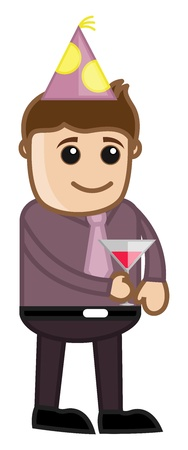 Man Having Wine - Cartoon Business Character Vector