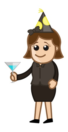 Party Girl - Cartoon Business Character Vector