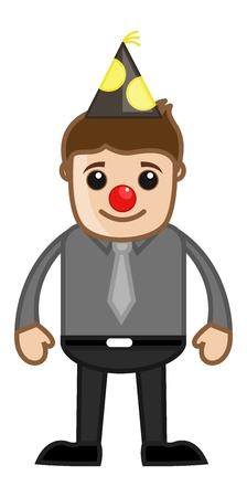 Man with Funny Joker Nose - Cartoon Business Character Vector